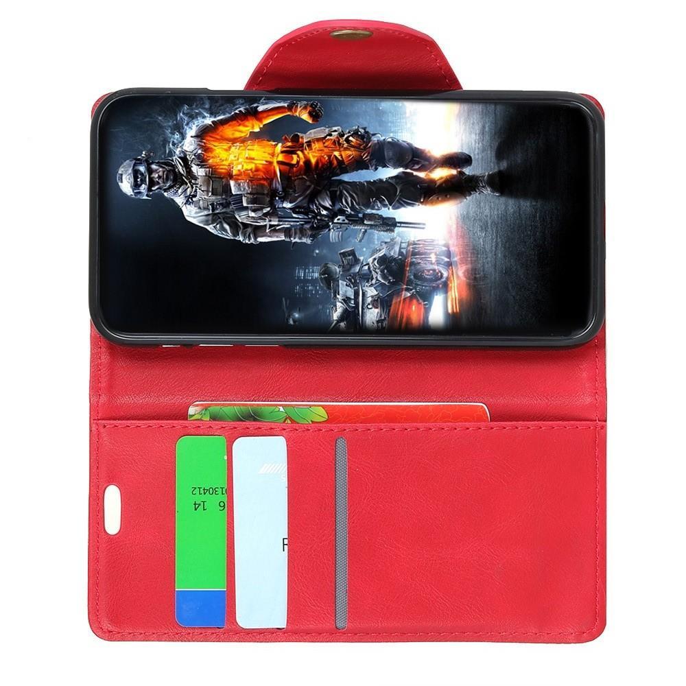 Боковая Чехол Книжка Кошелек с Футляром для Карт и Застежкой Магнитом для Huawei Y7 Pro 2019 Красный