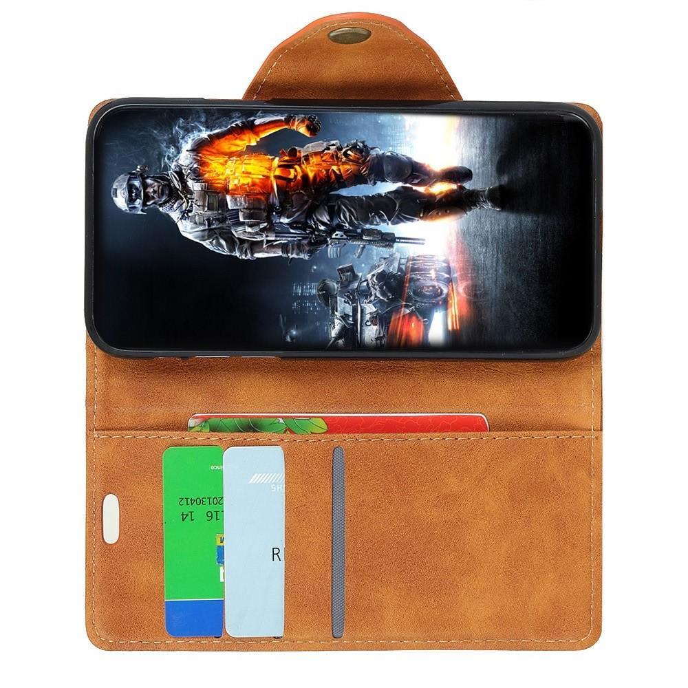 Боковая Чехол Книжка Кошелек с Футляром для Карт и Застежкой Магнитом для Huawei Y7 Pro 2019 Коричневый