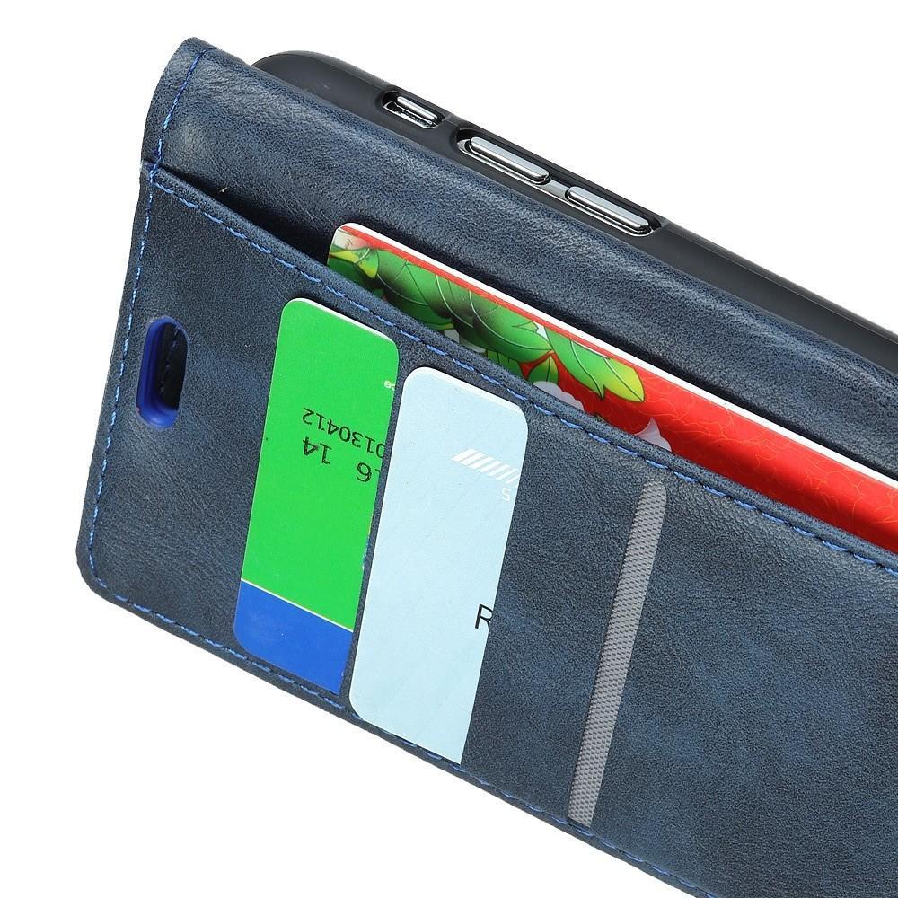 Боковая Чехол Книжка Кошелек с Футляром для Карт и Застежкой Магнитом для Huawei Y7 Pro 2019 Синий