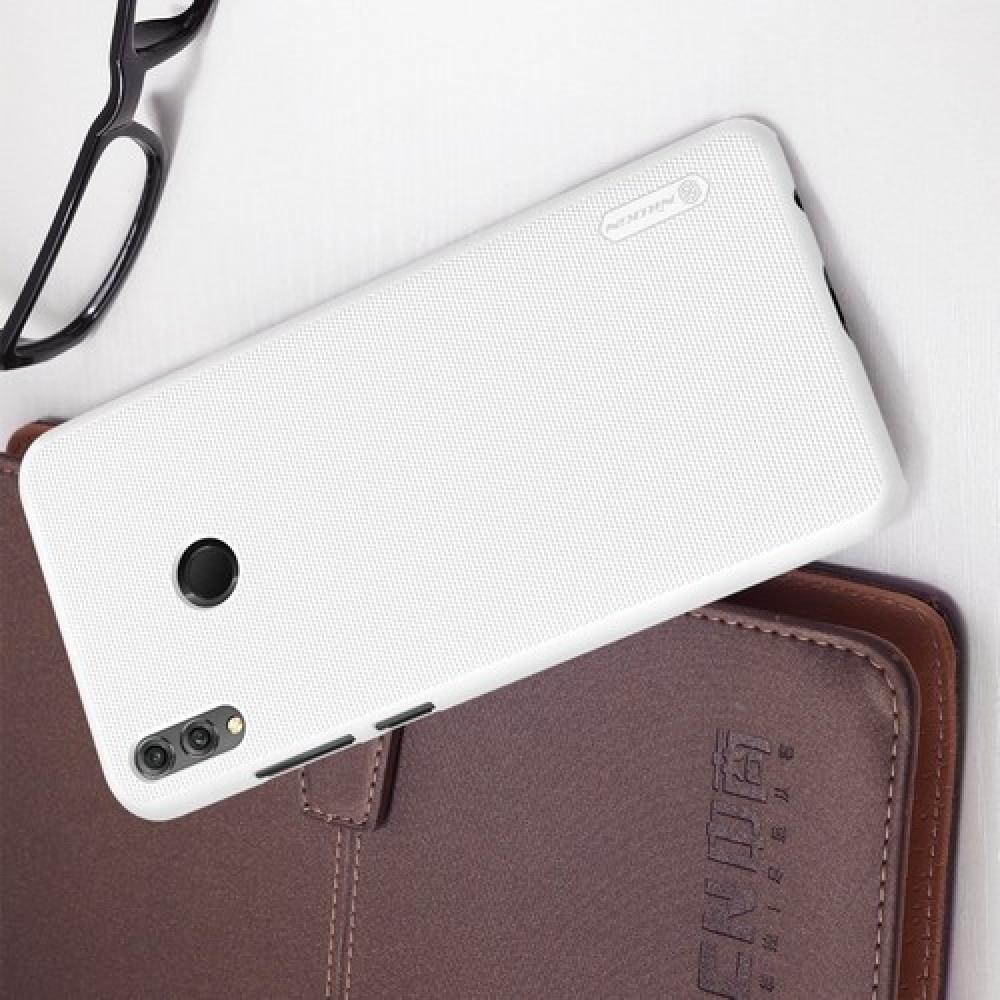 Пластиковый нескользящий NILLKIN Frosted кейс чехол для Huawei Honor 8X Max Белый + защитная пленка