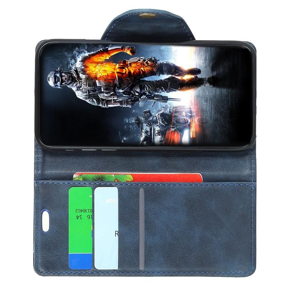 Боковая Чехол Книжка Кошелек с Футляром для Карт и Застежкой Магнитом для Sony Xperia 10 Синий
