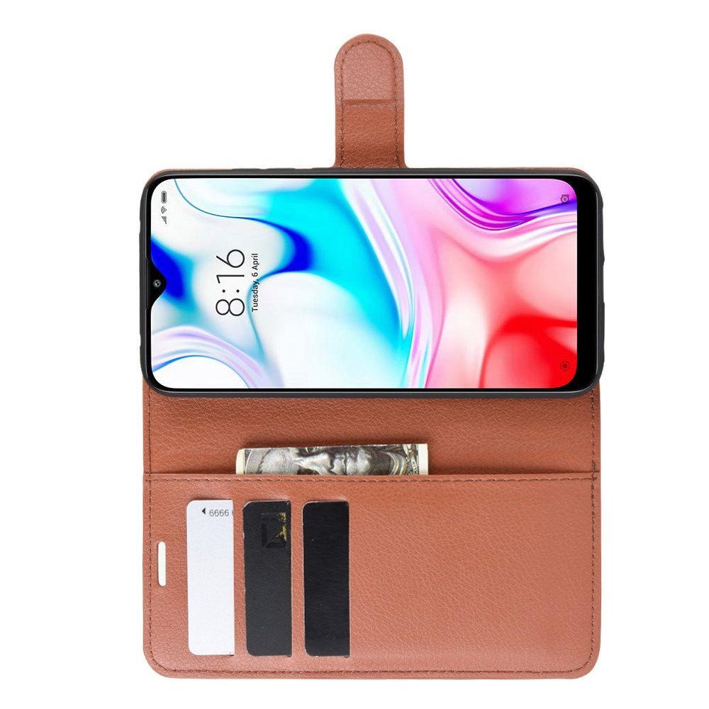 Боковая Чехол Книжка Кошелек с Футляром для Карт и Застежкой Магнитом для Xiaomi Redmi 8 Коричневый