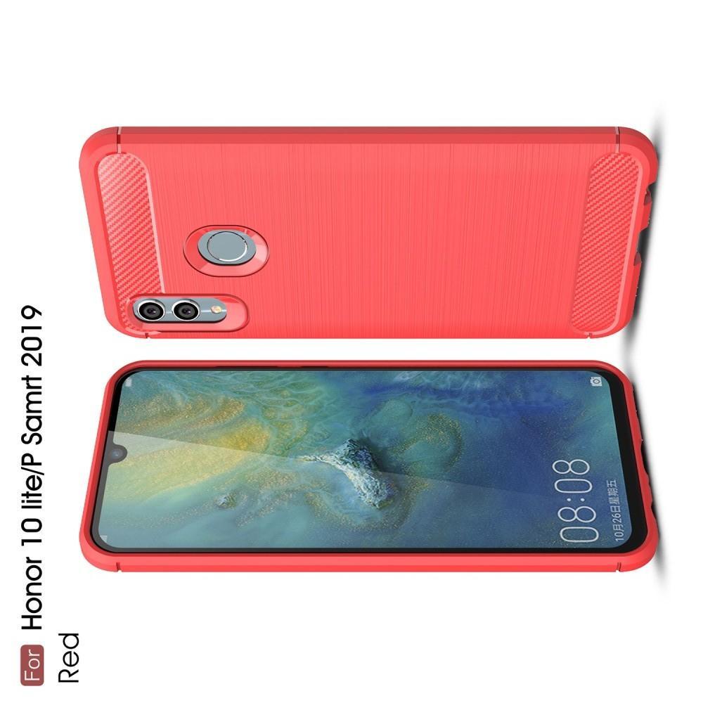 Carbon Fibre Силиконовый матовый бампер чехол для Huawei Honor 10 Lite Коралловый