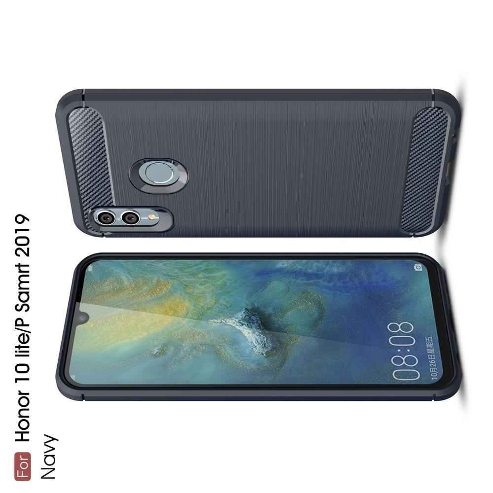 Carbon Fibre Силиконовый матовый бампер чехол для Huawei Honor 10 Lite Синий