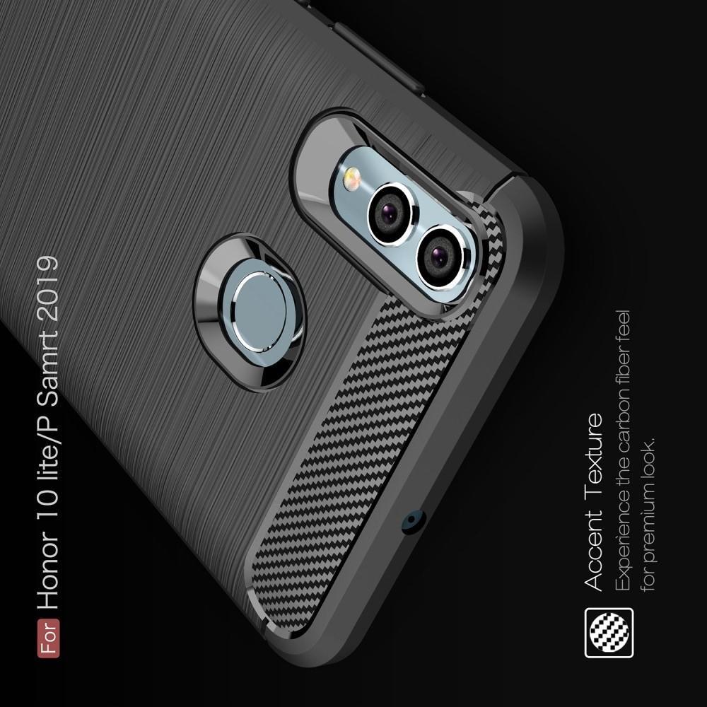 Carbon Fibre Силиконовый матовый бампер чехол для Huawei Honor 10 Lite Серый