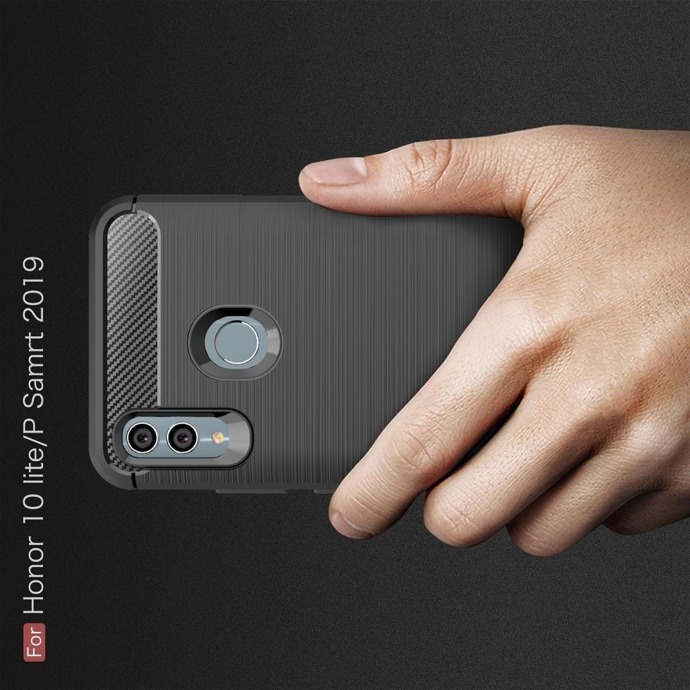 Carbon Fibre Силиконовый матовый бампер чехол для Huawei Honor 10 Lite Черный