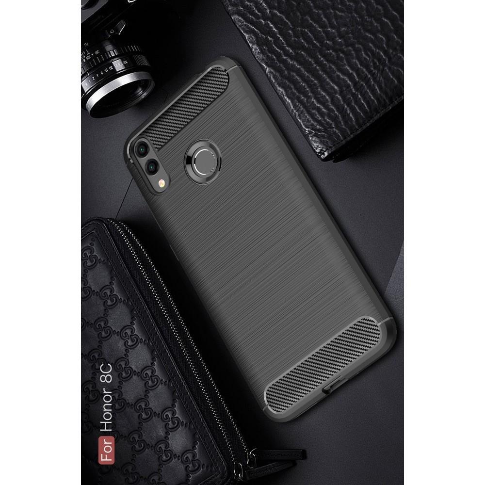 Carbon Fibre Силиконовый матовый бампер чехол для Huawei Honor 8C Черный