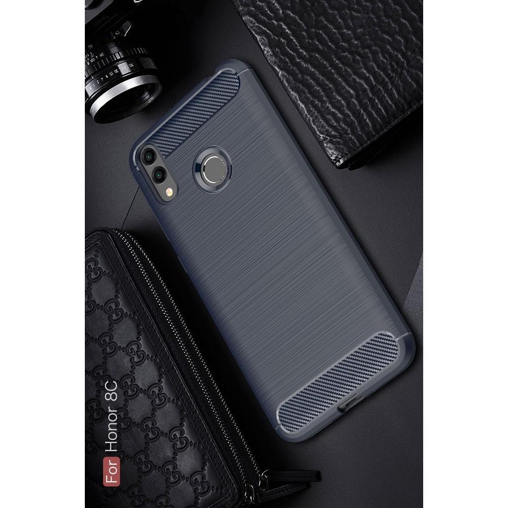 Carbon Fibre Силиконовый матовый бампер чехол для Huawei Honor 8C Синий