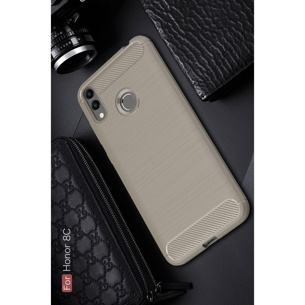 Carbon Fibre Силиконовый матовый бампер чехол для Huawei Honor 8C Серый