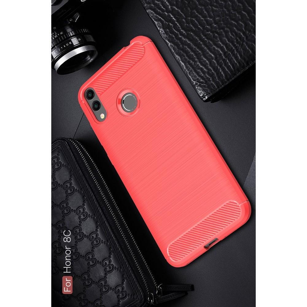 Carbon Fibre Силиконовый матовый бампер чехол для Huawei Honor 8C Коралловый