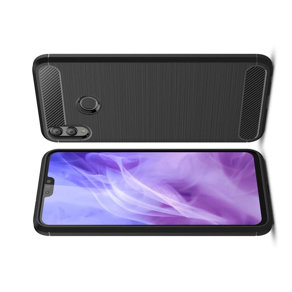 Carbon Fibre Силиконовый матовый бампер чехол для Huawei Honor 8X Черный