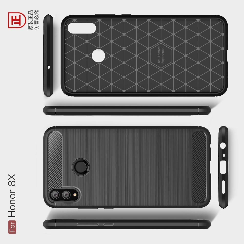 Carbon Fibre Силиконовый матовый бампер чехол для Huawei Honor 8X Красный