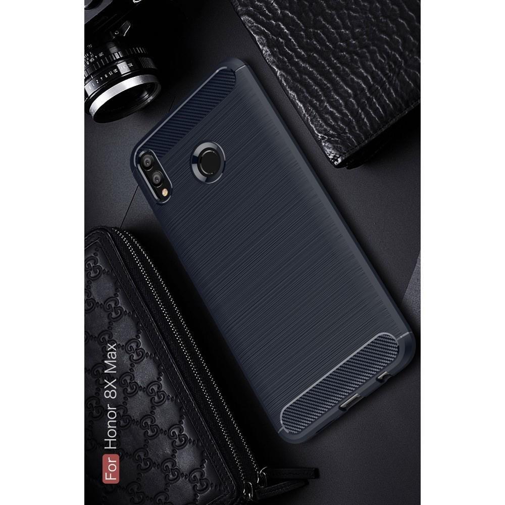 Carbon Fibre Силиконовый матовый бампер чехол для Huawei Honor 8X Max Синий