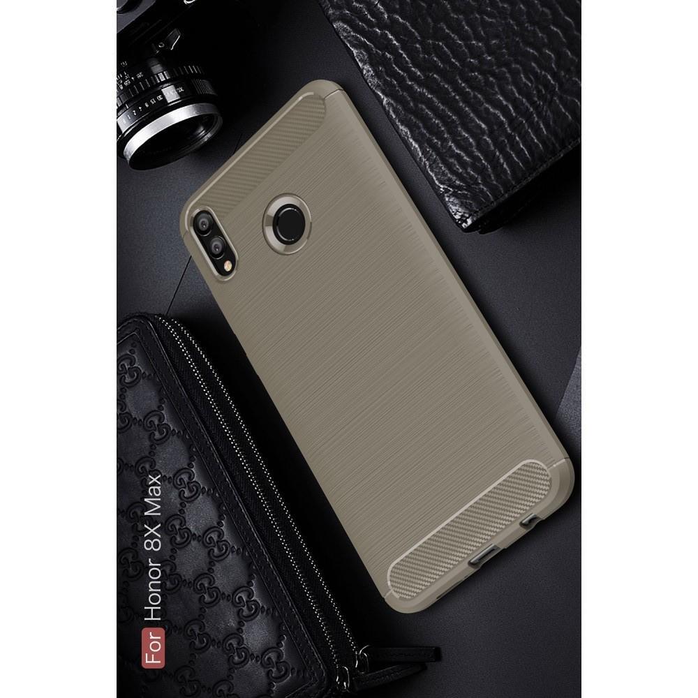 Carbon Fibre Силиконовый матовый бампер чехол для Huawei Honor 8X Max Серый