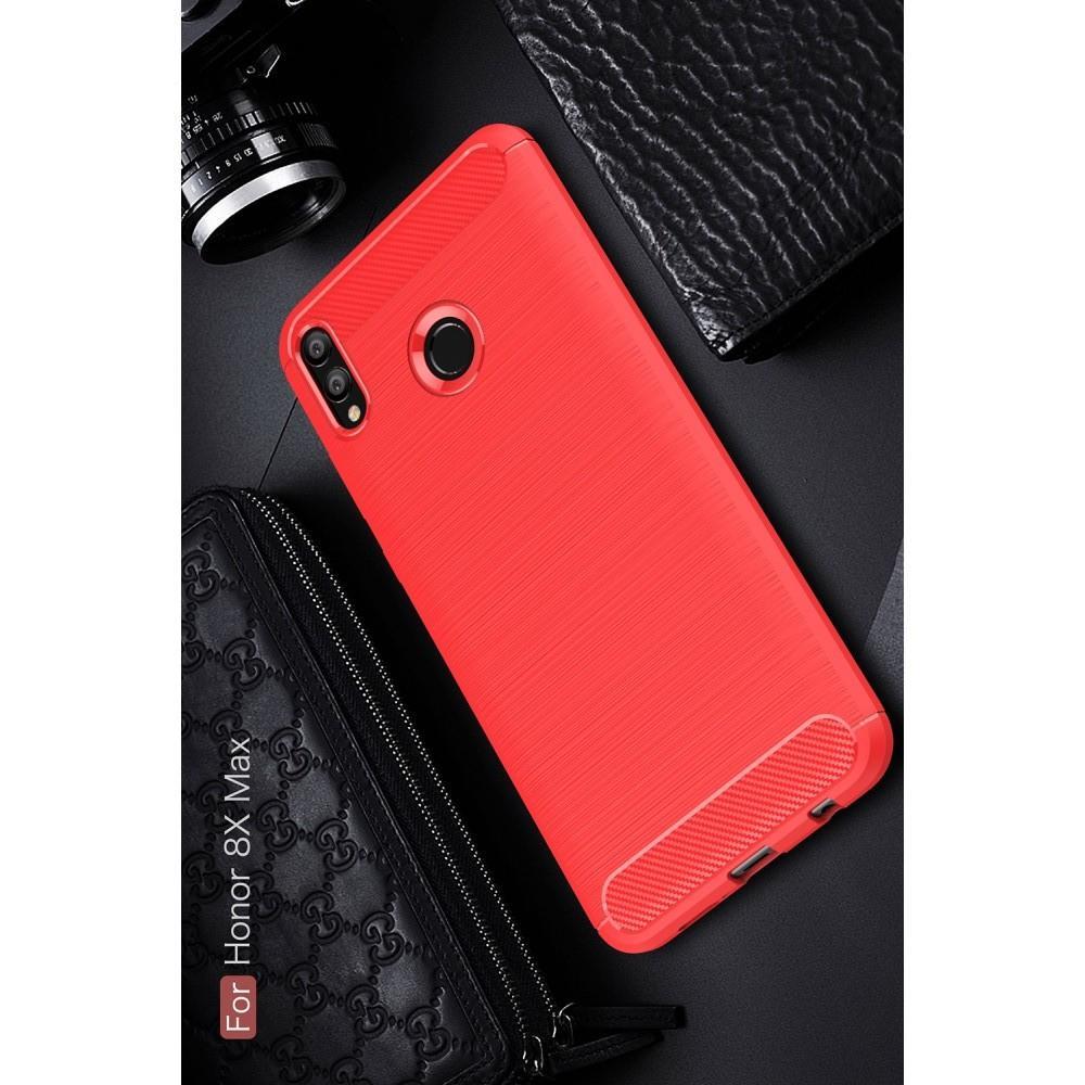 Carbon Fibre Силиконовый матовый бампер чехол для Huawei Honor 8X Max Коралловый
