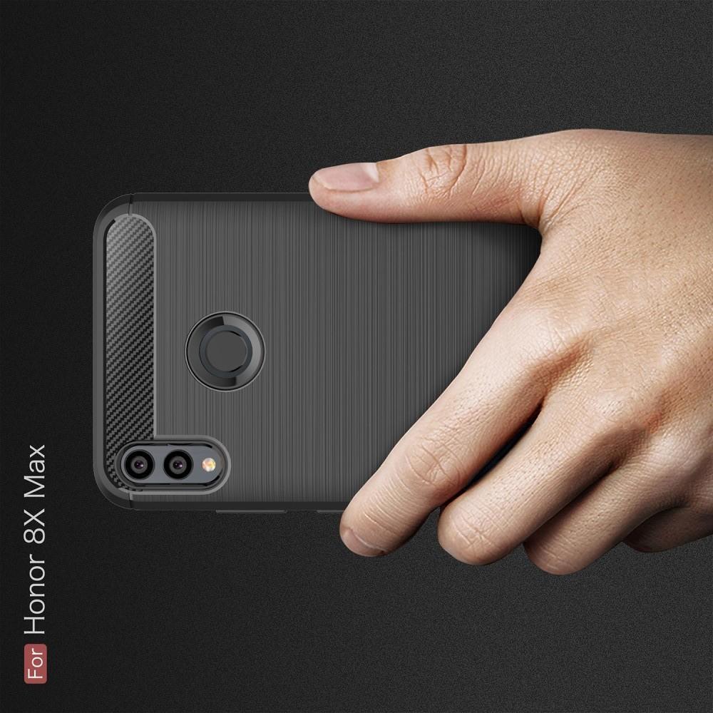 Carbon Fibre Силиконовый матовый бампер чехол для Huawei Honor 8X Max Черный