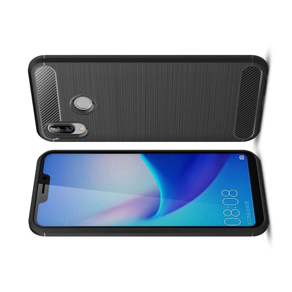 Carbon Fibre Силиконовый матовый бампер чехол для Huawei Honor Play Черный