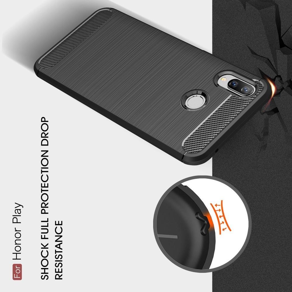 Carbon Fibre Силиконовый матовый бампер чехол для Huawei Honor Play Красный