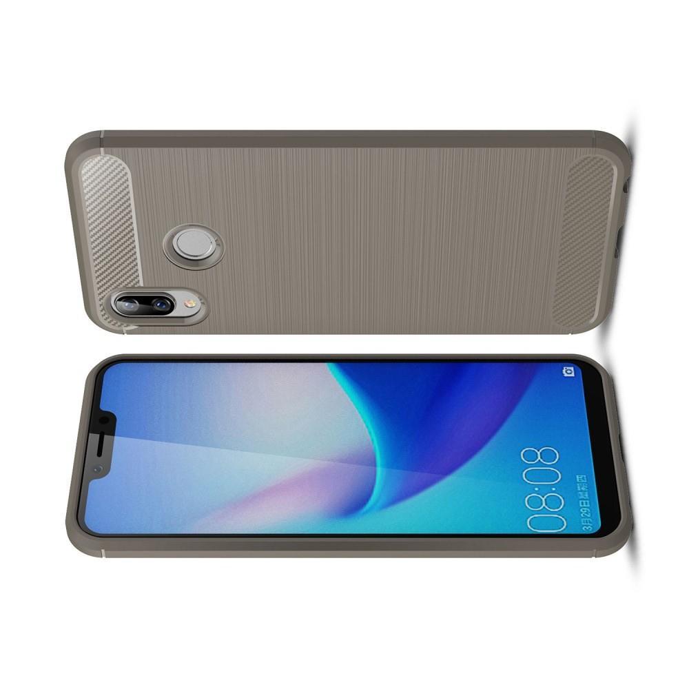 Carbon Fibre Силиконовый матовый бампер чехол для Huawei Honor Play Серый