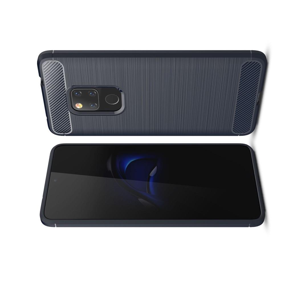 Carbon Fibre Силиконовый матовый бампер чехол для Huawei Mate 20 Синий