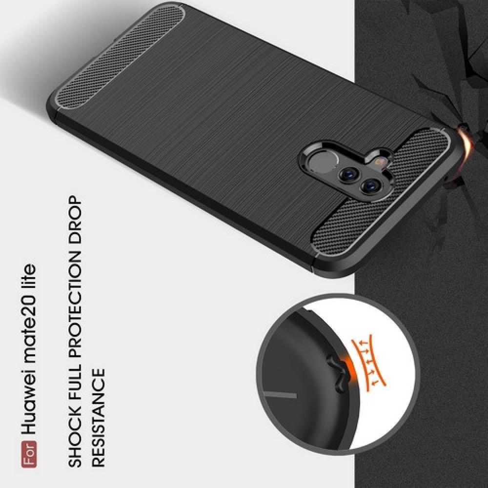 Carbon Fibre Силиконовый матовый бампер чехол для Huawei Mate 20 Lite Синий