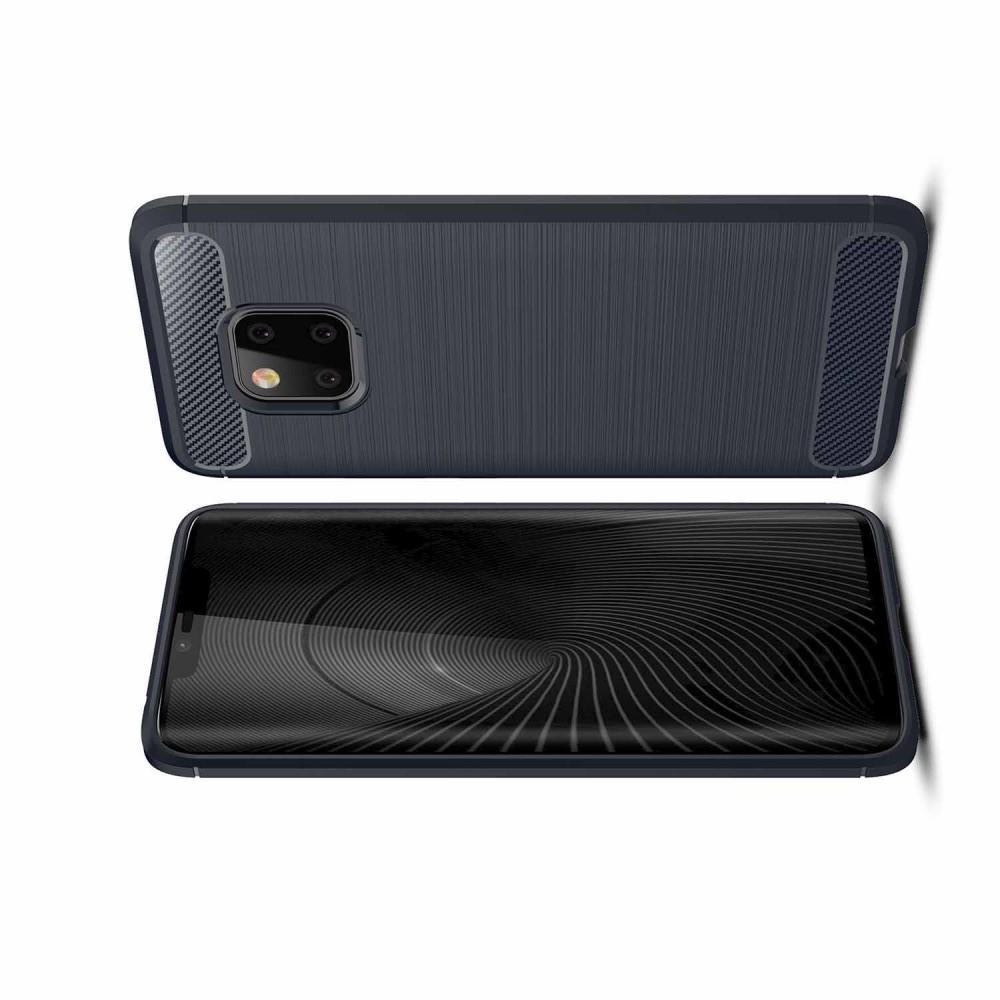Carbon Fibre Силиконовый матовый бампер чехол для Huawei Mate 20 Pro Синий
