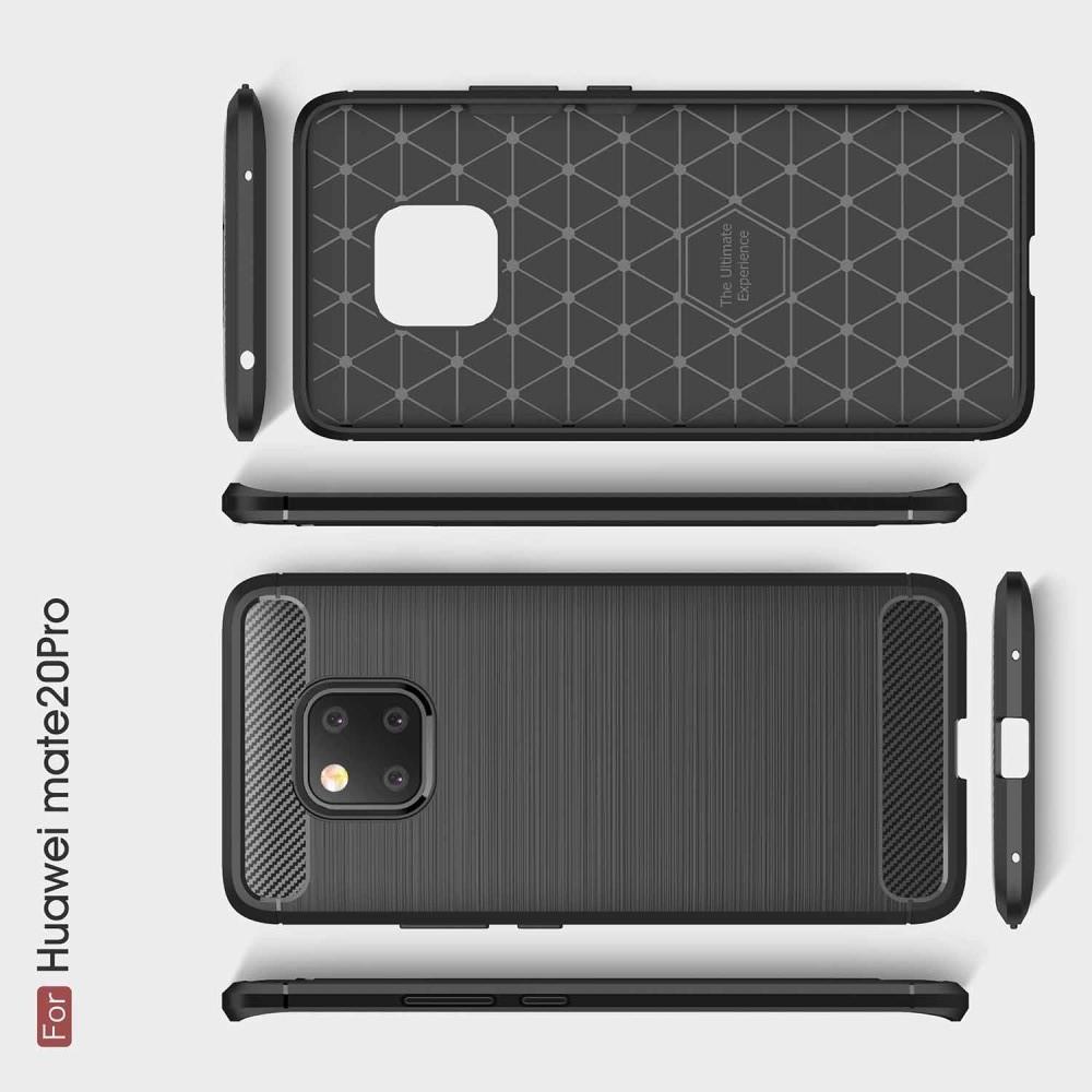 Carbon Fibre Силиконовый матовый бампер чехол для Huawei Mate 20 Pro Черный