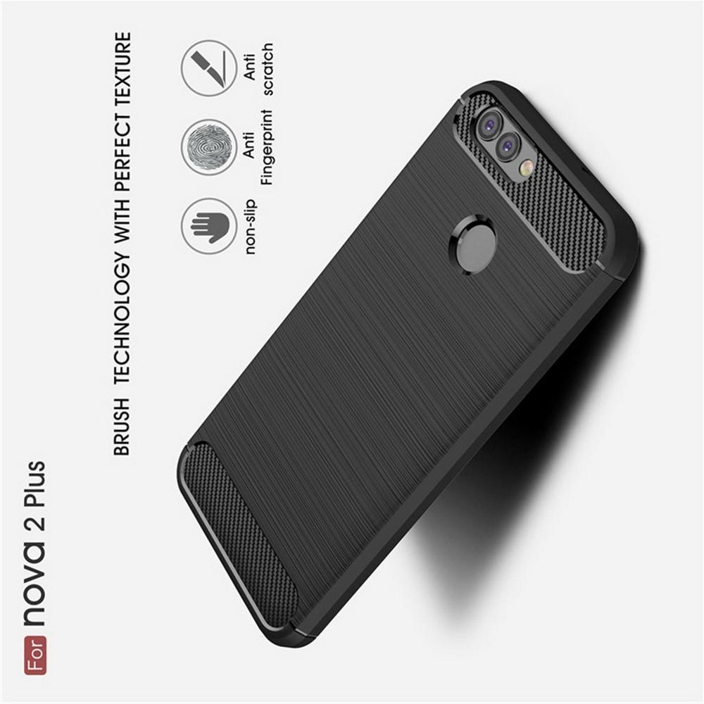 Carbon Fibre Силиконовый матовый бампер чехол для Huawei Nova 2 Plus Черный