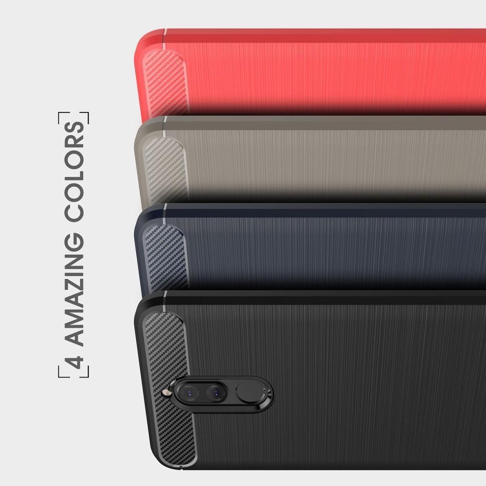 Carbon Fibre Силиконовый матовый бампер чехол для Huawei Nova 2i / Mate 10 Lite Коралловый