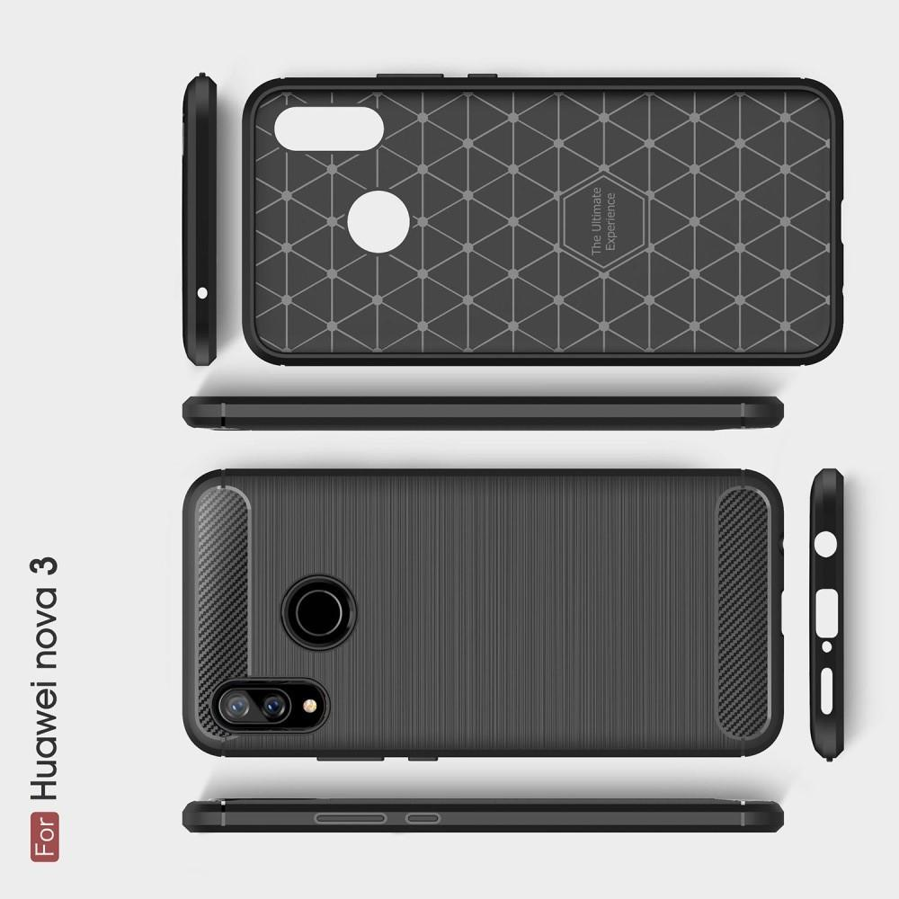 Carbon Fibre Силиконовый матовый бампер чехол для Huawei nova 3 Синий