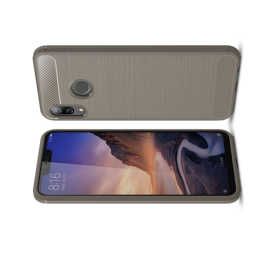 Carbon Fibre Силиконовый матовый бампер чехол для Huawei nova 3 Серый