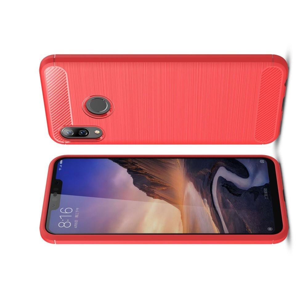Carbon Fibre Силиконовый матовый бампер чехол для Huawei nova 3 Красный
