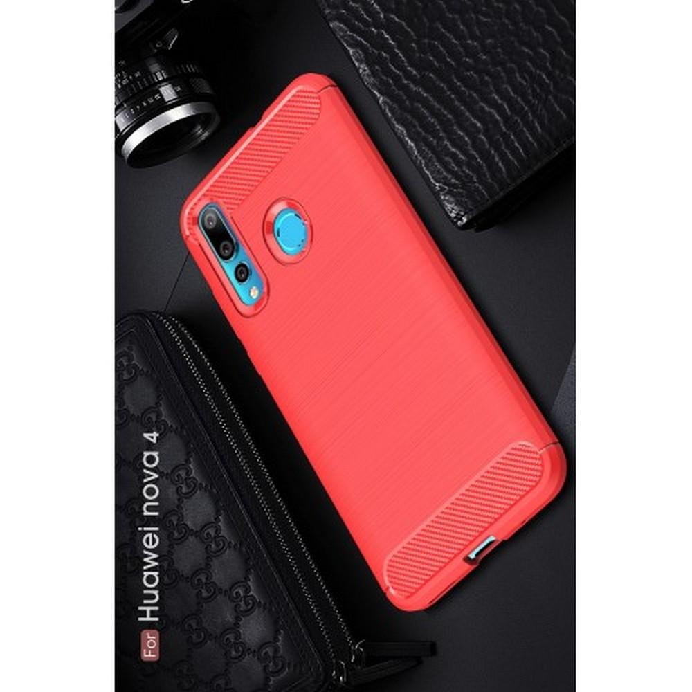 Carbon Fibre Силиконовый матовый бампер чехол для Huawei Nova 4 Коралловый
