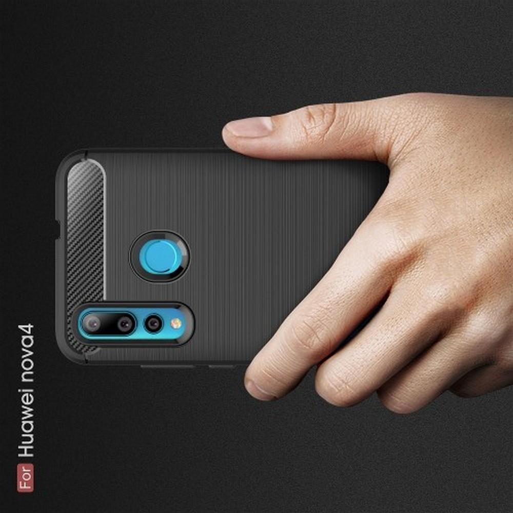Carbon Fibre Силиконовый матовый бампер чехол для Huawei Nova 4 Черный