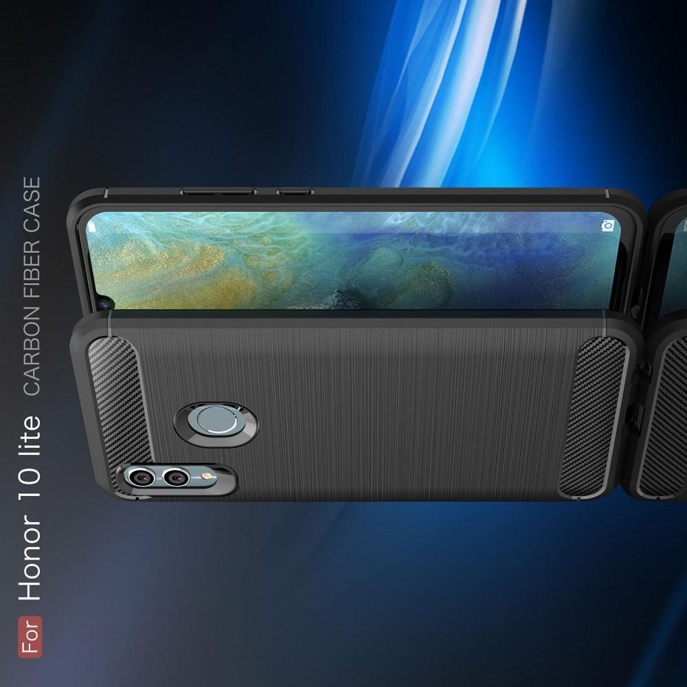 Carbon Fibre Силиконовый матовый бампер чехол для Huawei P Smart 2019 Черный