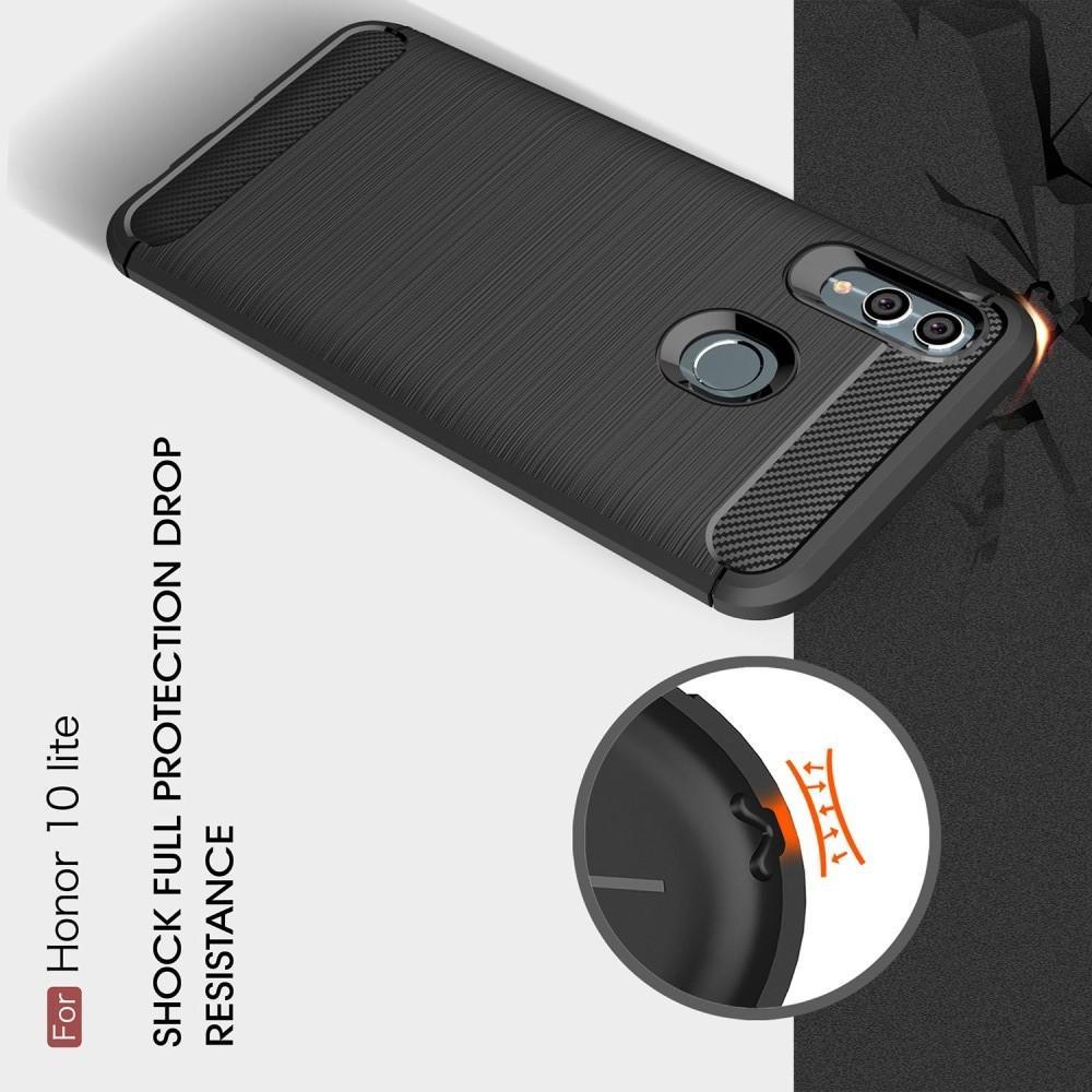 Carbon Fibre Силиконовый матовый бампер чехол для Huawei P Smart 2019 Синий