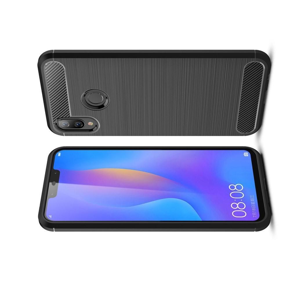 Carbon Fibre Силиконовый матовый бампер чехол для Huawei P smart+ / Nova 3i Черный