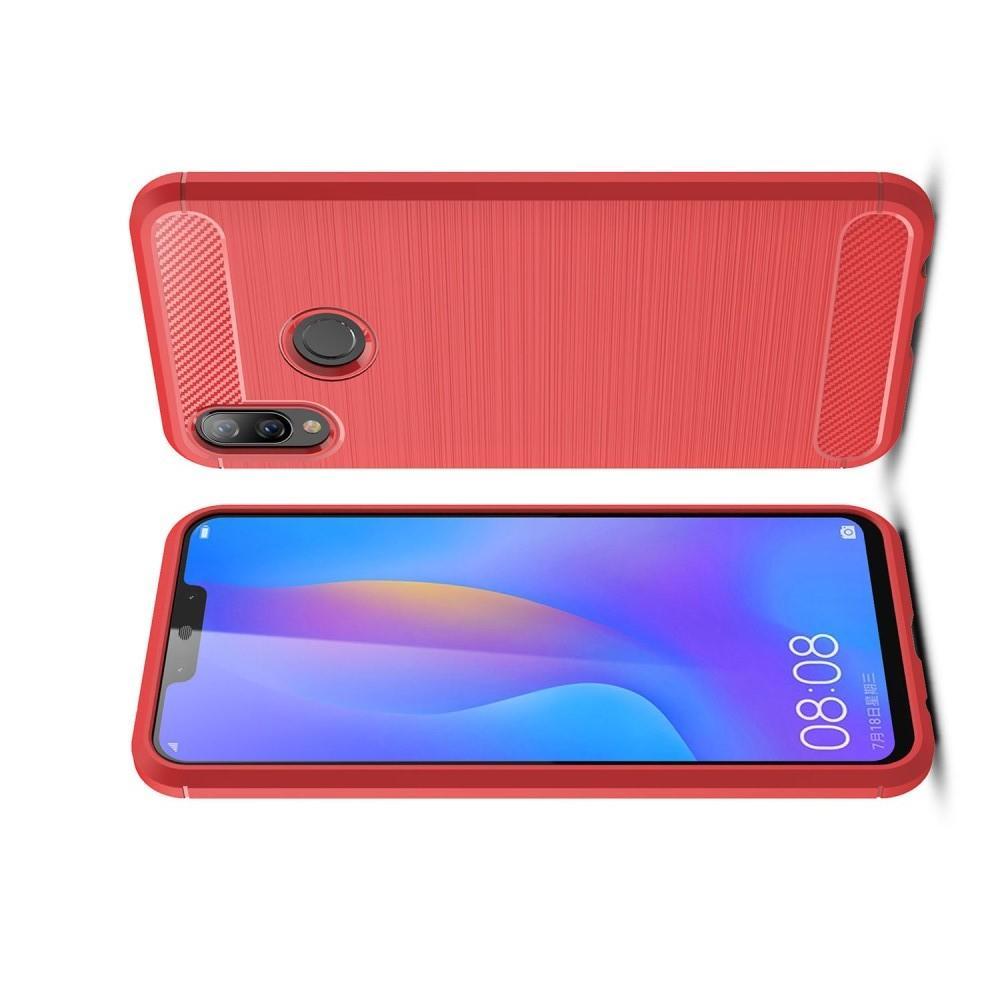 Carbon Fibre Силиконовый матовый бампер чехол для Huawei P smart+ / Nova 3i Коралловый