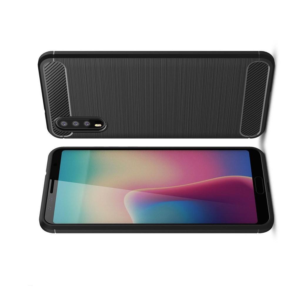 Carbon Fibre Силиконовый матовый бампер чехол для Huawei P20 Черный