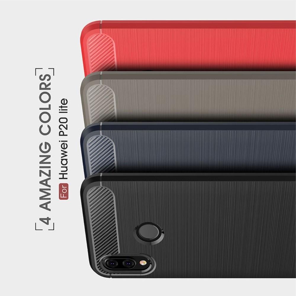 Carbon Fibre Силиконовый матовый бампер чехол для Huawei P20 lite Серый