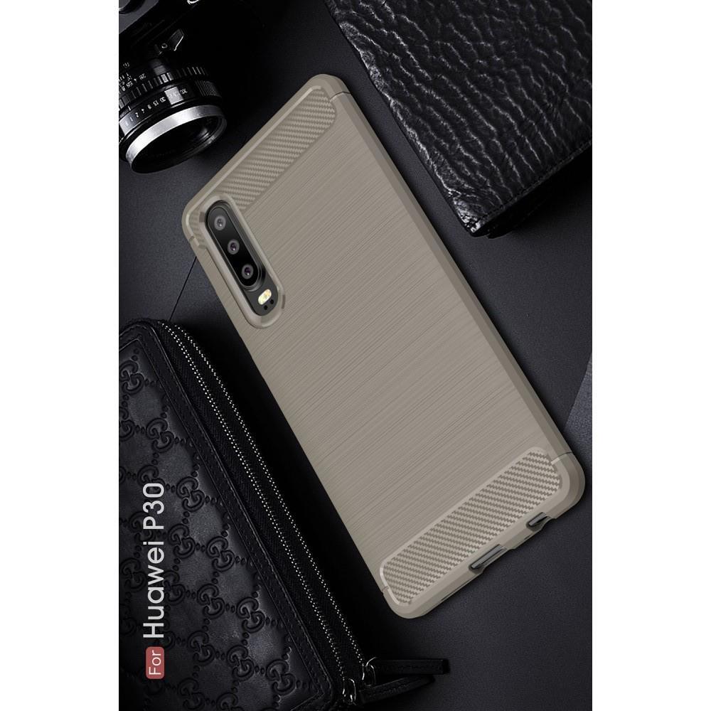 Carbon Fibre Силиконовый матовый бампер чехол для Huawei P30 Серый