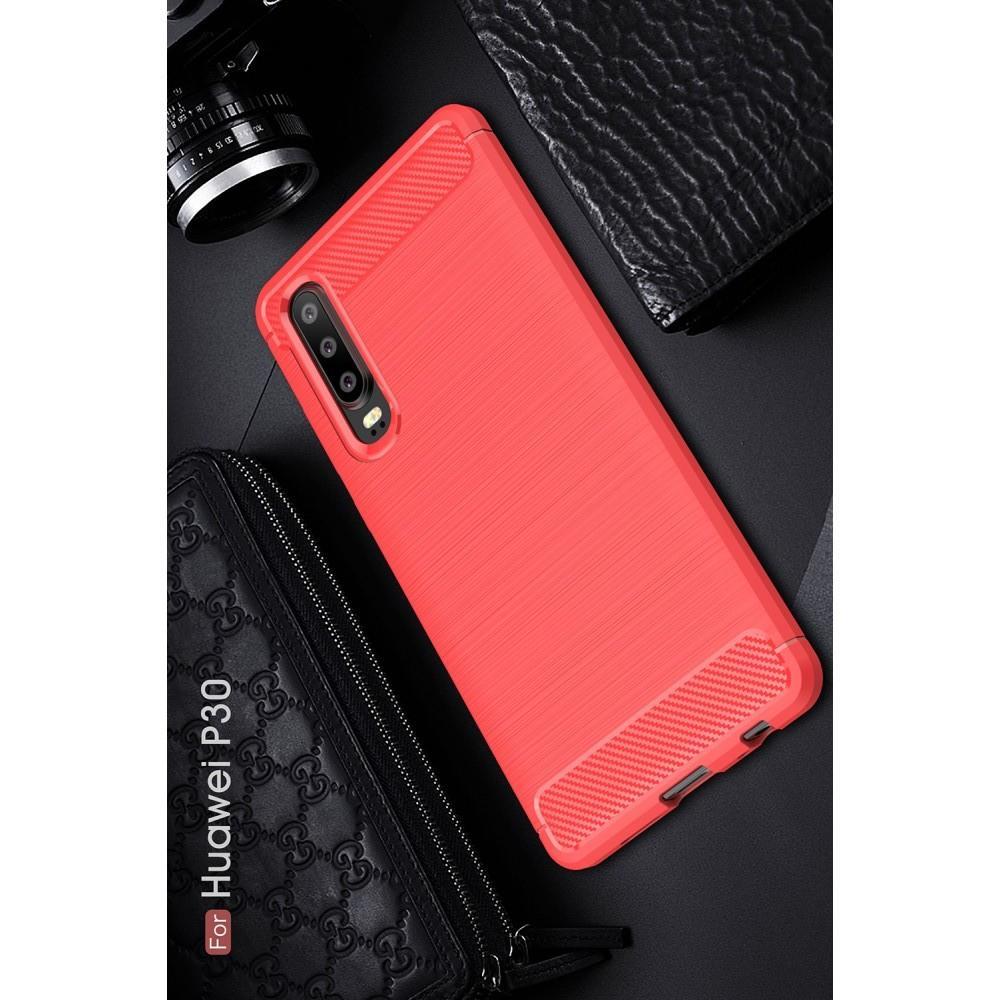 Carbon Fibre Силиконовый матовый бампер чехол для Huawei P30 Коралловый