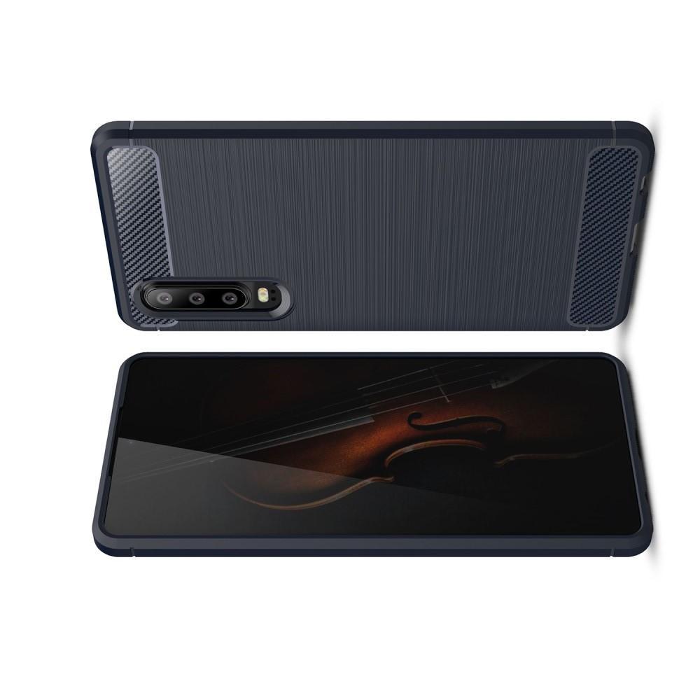 Carbon Fibre Силиконовый матовый бампер чехол для Huawei P30 Синий