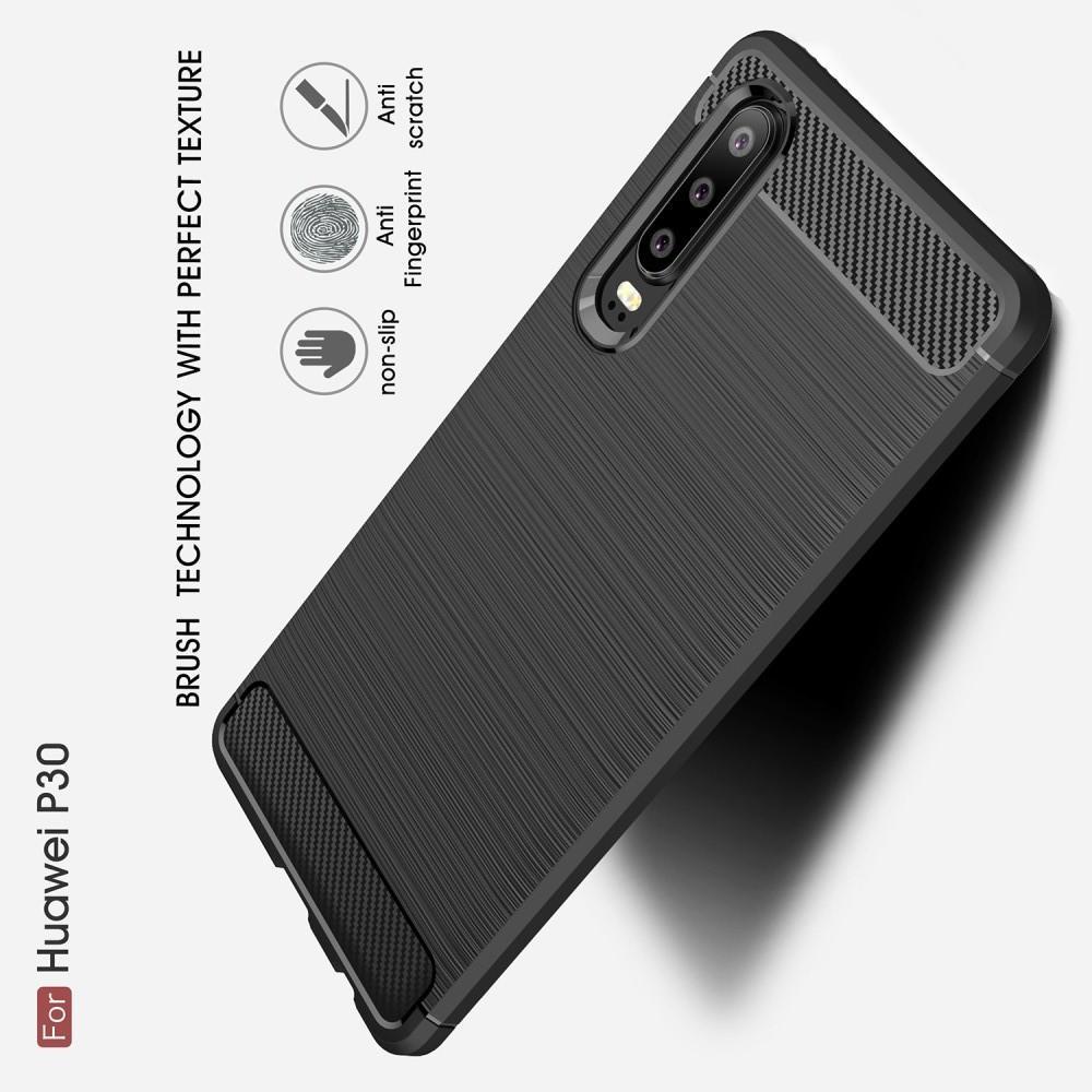 Carbon Fibre Силиконовый матовый бампер чехол для Huawei P30 Черный