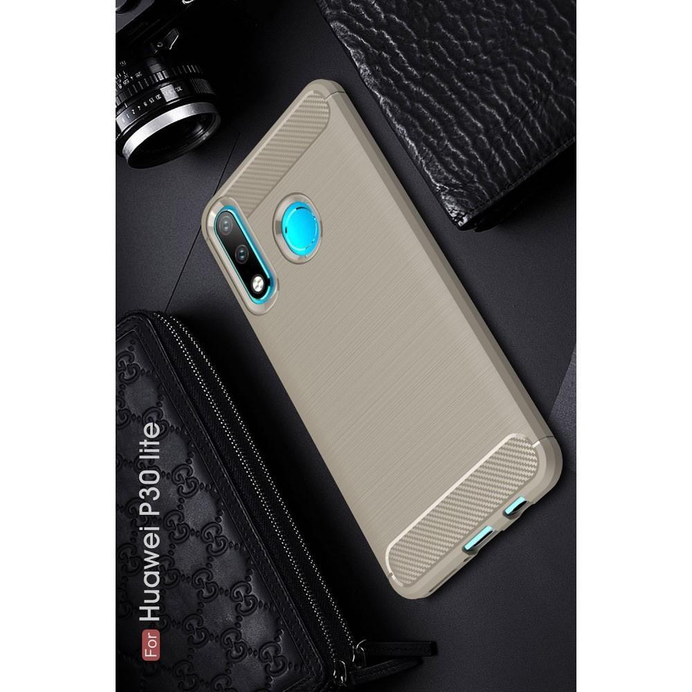 Carbon Fibre Силиконовый матовый бампер чехол для Huawei P30 Lite Серый
