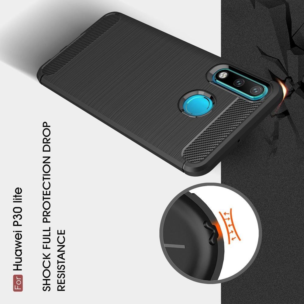 Carbon Fibre Силиконовый матовый бампер чехол для Huawei P30 Lite Коралловый