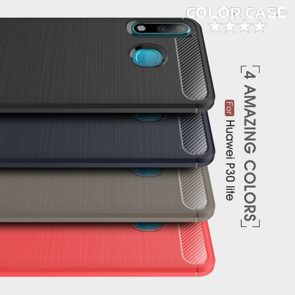 Carbon Fibre Силиконовый матовый бампер чехол для Huawei P30 Lite Черный