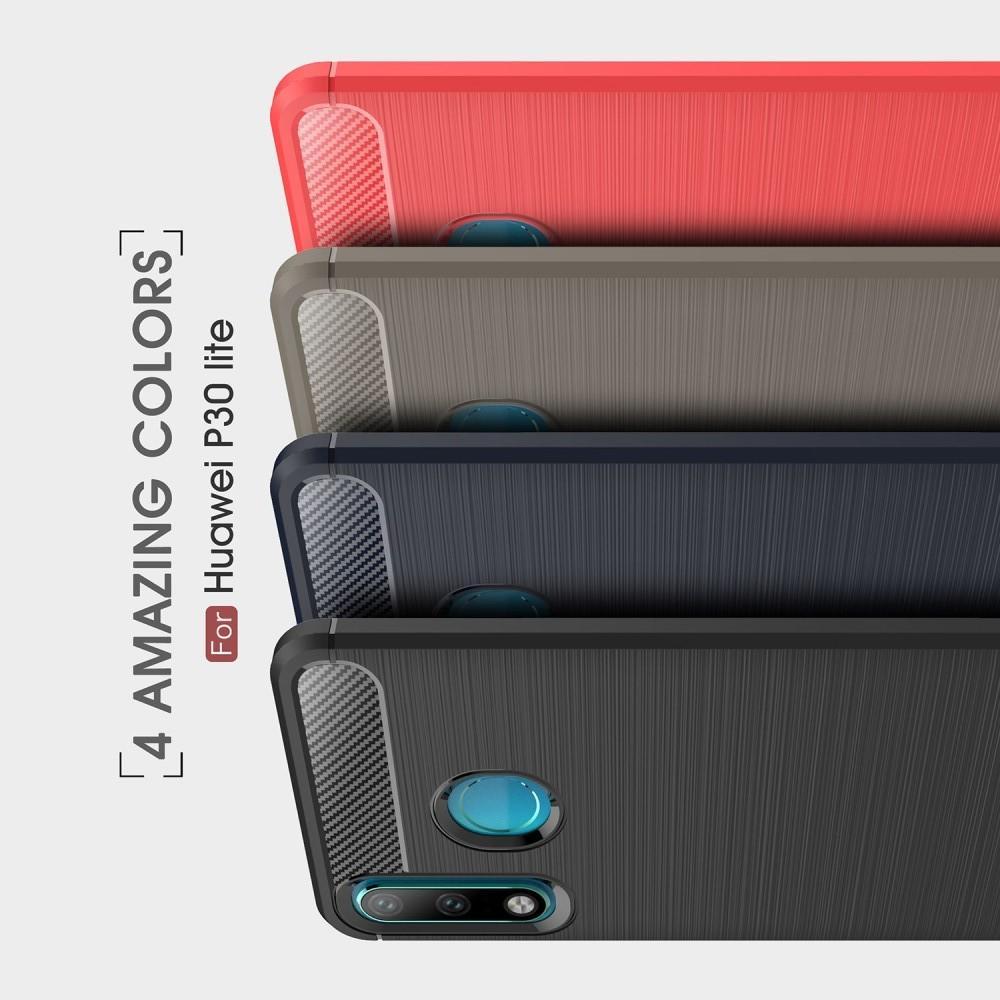 Carbon Fibre Силиконовый матовый бампер чехол для Huawei P30 Lite Синий