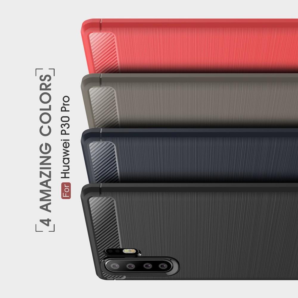 Carbon Fibre Силиконовый матовый бампер чехол для Huawei P30 Pro Коралловый