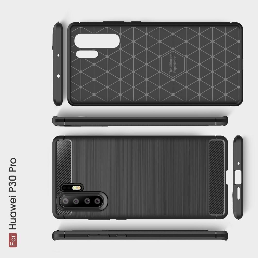 Carbon Fibre Силиконовый матовый бампер чехол для Huawei P30 Pro Черный